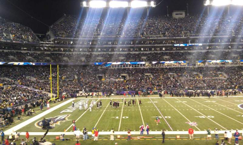 Seating view for M&T Bank Stadium Section 102 Row 30 Seat 18