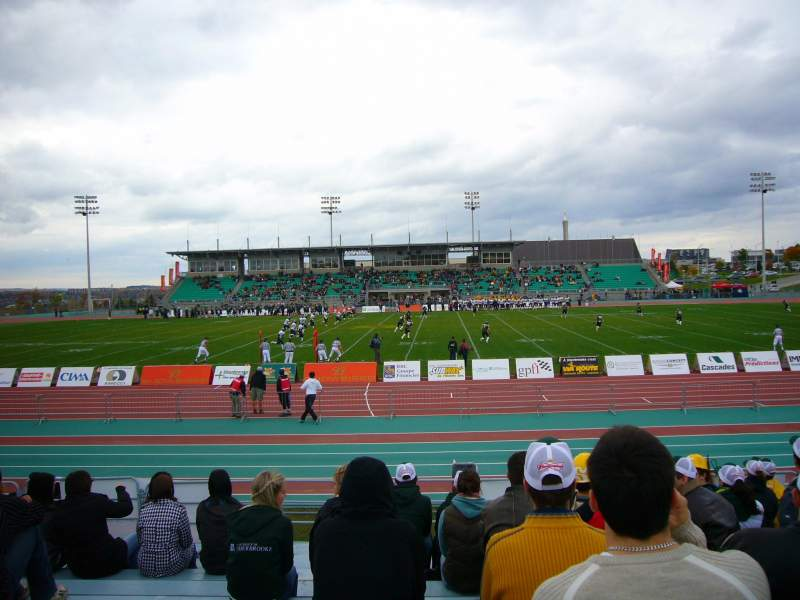 Seating view for Stade de l'université de Sherbrooke Section SUD JJ Row G Seat 53