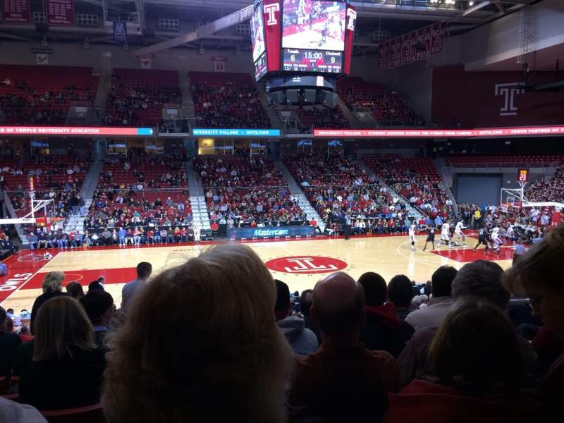 Seating view for Liacouras Center Section 104 Row U Seat 4