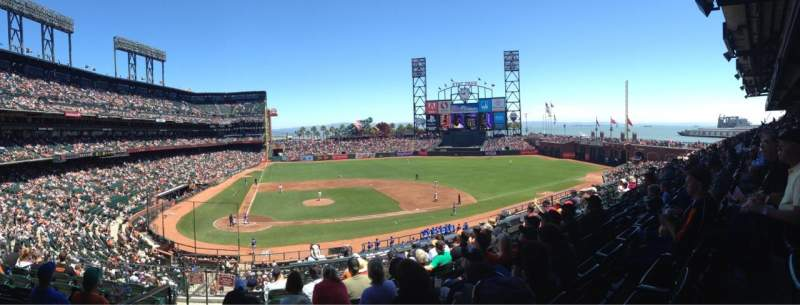 Seating view for AT&T Park Section 210 Row H Seat 16