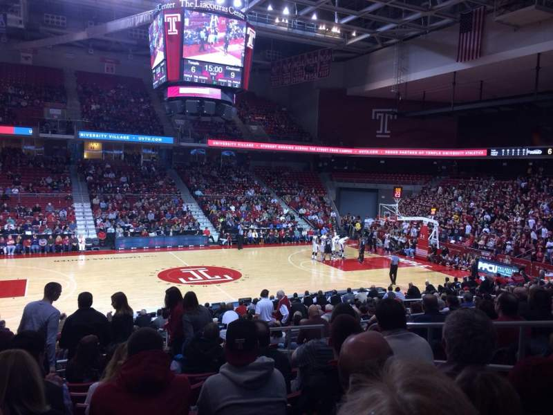 Seating view for Liacouras Center Section 104 Row U Seat 5