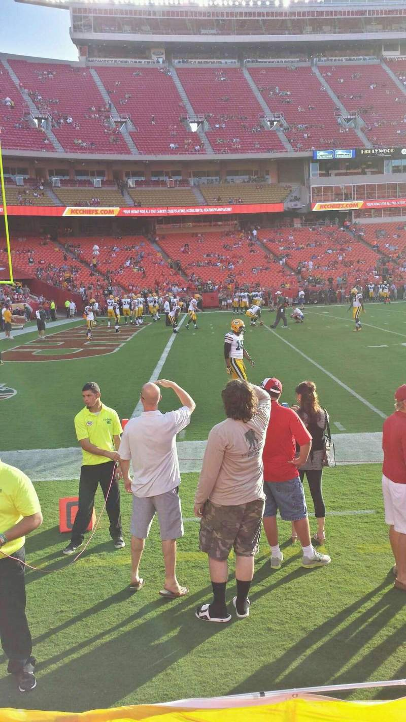 Seating view for Arrowhead Stadium Section 105 Row 1 Seat 8