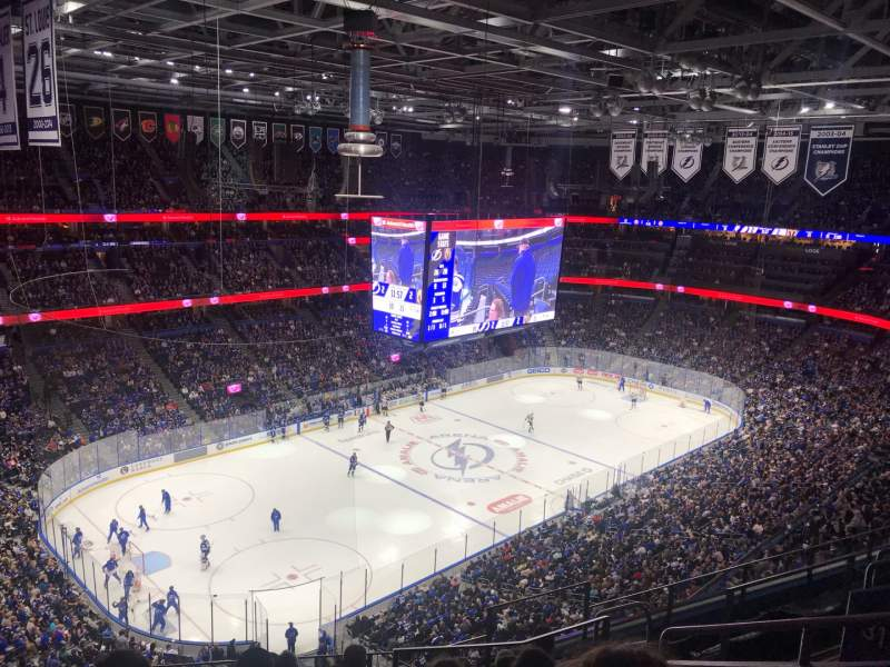 Seating view for Amalie Arena Section 320 Row H Seat 6