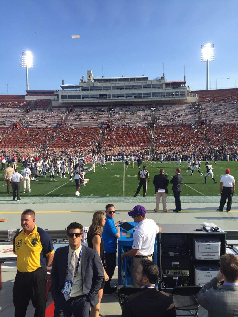 Seating view for Los Angeles Memorial Coliseum Section 121A Row 1 Seat 13